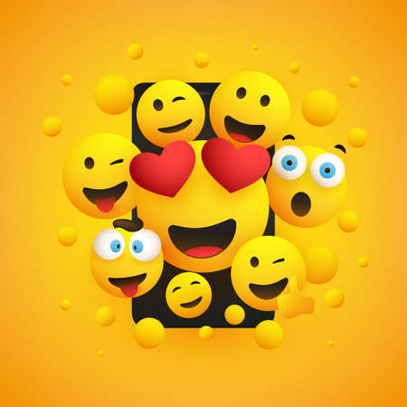 Various Smiling Happy Yellow Emoticons Design, Group of Funny People in Front of a Smartphone Screen, Vector Concept Illustration Ilustración de vector