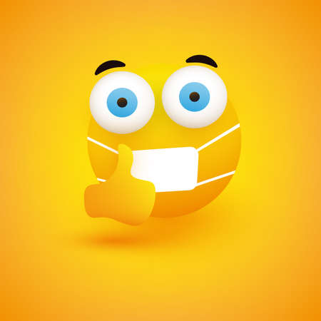 Emoji - Simple Emoticon with Pop Out Eyes, Showing Thumbs Up and Wearing Medical Mask on Yellow Background - Vector Design