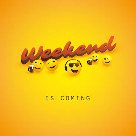Weekend's Coming Banner Design with Winking and Smiling Emoticons
