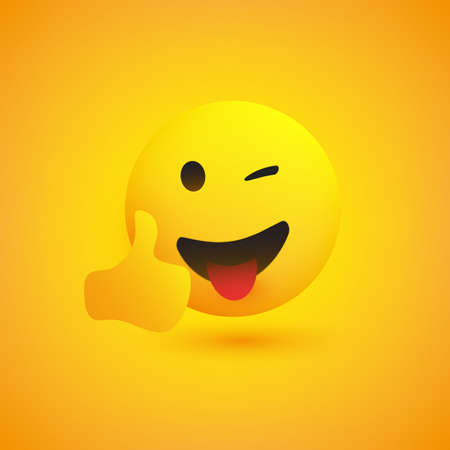 Smiling Emoji on Yellow Background - Simple Happy Emoticon with Winked Eye and Outstretched Tongue Showing Thumbs Up - Vector Design Concept Illustration