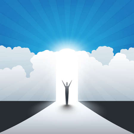 New Possibilities, Hope, Dreams - Business, Solutions Finding or Heaven Concept - Man Standing in Front of a Door Under a Cloudy Sky, Light at the End of the Road
