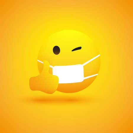 Emoji - Emoticon simple con guiño de ojo, mostrando los pulgares hacia arriba y usando máscara médica - Diseño vectorial sobre fondo amarillo