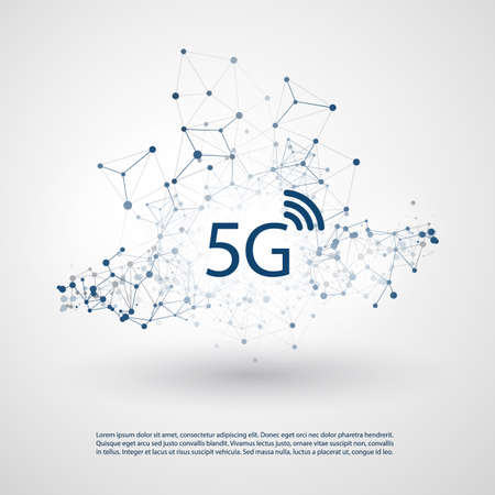 5G Network Label with Wireframe Mesh - High Speed, Broadband Mobile Telecommunication and Wireless Internet Design Concept