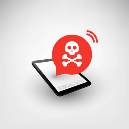 Malware Infection Warning Speech Bubble on Tablet PC or Mobile Phone - Virus, Backdoor, Ransomware, Fraud, Phishing, Email Scam, Hacker Attack - IT Security Concept Design, Vector Illustration