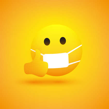 Emoji - Simple Serious Looking Emoticon Showing Thumbs Up and Wearing Medical Mask - Vector Design on Yellow Background