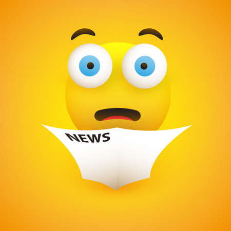 Surprising, Horrible News - Emoticon with Pop Out Eyes Reads a Newspaper - Vector Design
