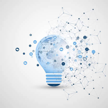 Abstraktes Konzept für Elektrizität, Cloud-Computing und globale Netzwerkverbindungen mit Erdkugel in einer Glühbirne, transparentes geometrisches Netz - Illustration im bearbeitbaren Vektorformat