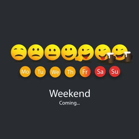Weekend's Coming - Design Concept with Funny Smiling Faces