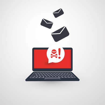 Laptop and Envelopes - Malware Attack Warning, Infection by E-mail - Virus, Backdoor, Ransomware, Fraud, Phishing, Email Scam, Hacked Computer - IT Security Concept Design, Vector Illustration