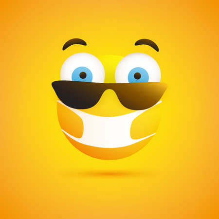 Surprised Emoticon with Pop Out Eyes, Sunglasses and Medical Mask on Yellow Background - Vector Design
