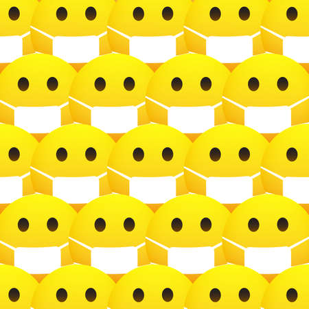 Background with Concerned Emoticons Pattern with Medical Mask on Yellow Background - Vector Design
