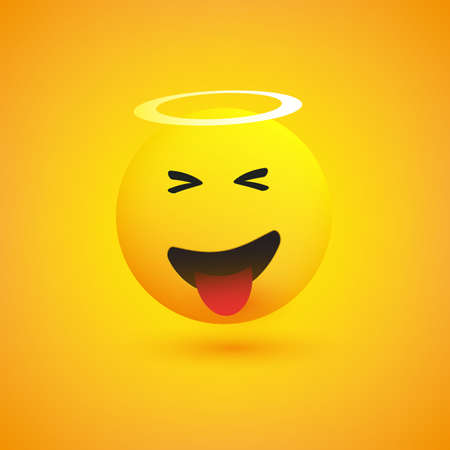 Smiling, Laughing Cheeky Face with Angel Halo - Emoticon Concept Design