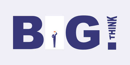 Think Big! - Motivational Graphic Design - Typography, Lettering with Businessman - Creativity, Ideas, Inspiration and Motivation Concept Vector Zdjęcie Seryjne - 142081278