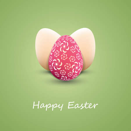 Happy Easter Card with Three Easter Eggs