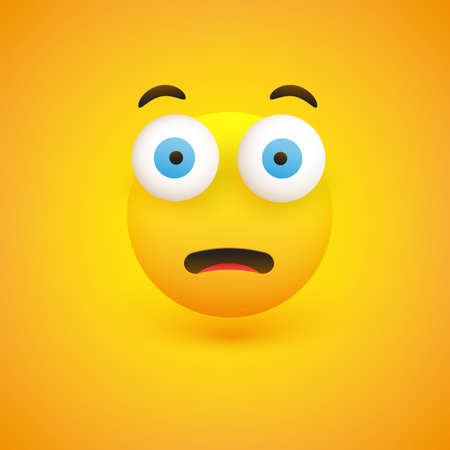 Fearful, Surprised Face - Emoticon with Pop Out Eyes - Vector Design