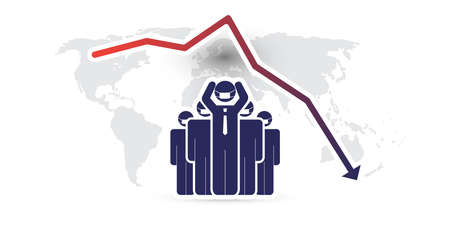 Global Economic Downfall Caused By the Corona Virus - Design Concept with Chart and Businessman Holding His Head