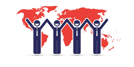 Together It's Easier - Join Forces Against the Coronavirus Impact on All Around the World, Work to  Restore the Global Economy - Design Concept with Businessmen Illusztráció