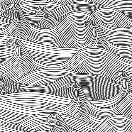 Black and White Wavy Texture - Abstract Vector Background