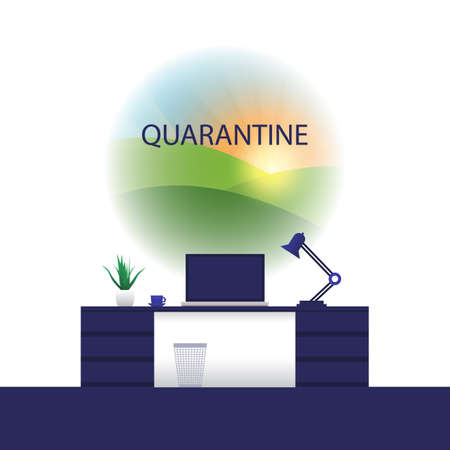In Quarantine - Desk with Laptop Computer, Remote or Freelance Work - Design Concept of Working at Home and Dreaming About The Outside World or Travelling - Vector Illustration