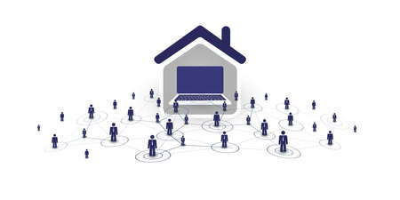 Home Offices - People Work at Home and Make Social Connections Through the Internet - Design Concept with Symbolic Network of Houses, Computers Inside and a Businessmen Nodes - Vector Illustration Stock Illustratie