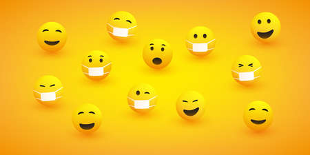 Various Emoticons with Different Facial Expressions and Reactions, with and without Medical Masks - Design Concept of Responsible vs. Easy Going People During the Global Corona Virus Pandemic Vectores
