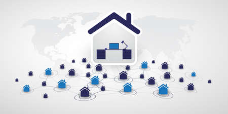 Home Offices - Separated People Work at Home and Make Social Connections Through the Internet Only - Design Concept with Symbolic Network of Houses - Vector Illustration