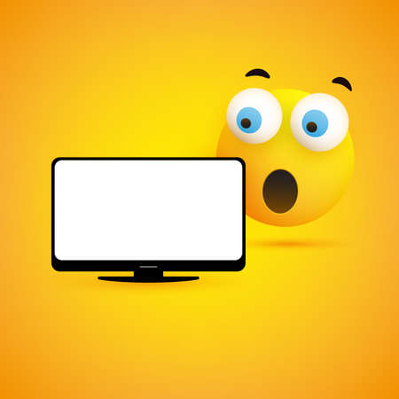 Surprised Emoticon with Pop Out Eyes and Laptop Computer on Yellow Background - Vector Design