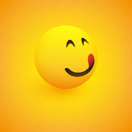 3D Smiling Mounth Licking Face, View from Side - Simple Happy Emoticon on Yellow Background - Vector Design 向量圖像