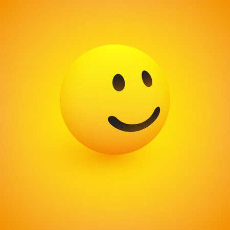 3D Smiling Face, View from Side - Emoticon on Yellow Background, Vector Design 向量圖像