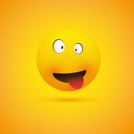Simple Smiling Crazy Emoticon with Squinting Eyes and Tongue Stuck Out Making Face - Emoji on Yellow Background, Vector Design