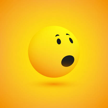 Emoticon with Surprised Face, Open Mouth and Eyes - Simple Emoji on Yellow Background - Vector Design Illustration