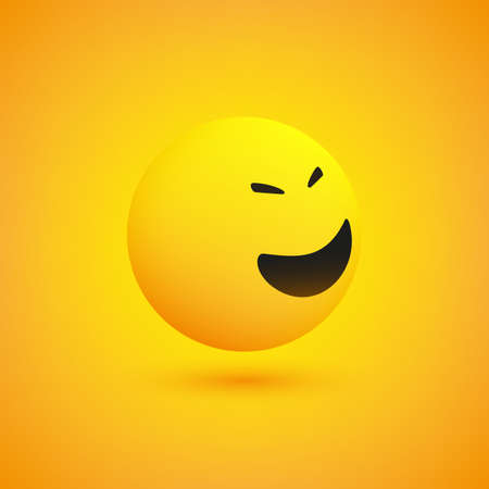 Laughing Simple Shiny Happy Emoticon on Yellow Background, View from Side - Vector Design