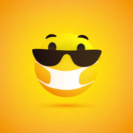 Surprised Emoticon with Surprised Eyes, Sunglasses and Medical Mask on Yellow Background - Vector Design