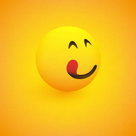 3D Smiling Mounth Licking Face, View from Side - Simple Happy Emoticon on Yellow Background - Vector Design Ilustracja