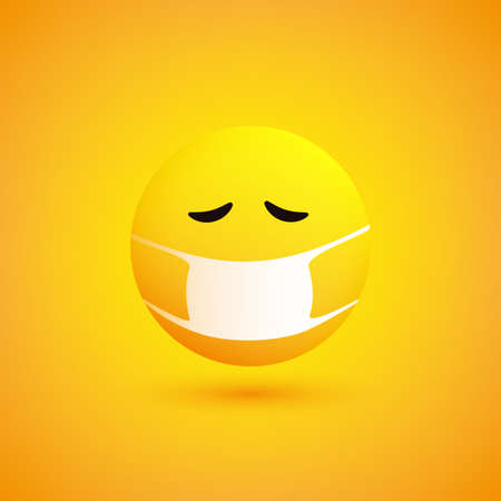Sad, Concerned Emoticon with Medical Mask on Yellow Background - Vector Design