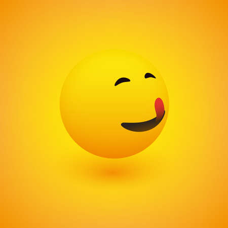 3D Smiling Mounth Licking Face, View from Side - Simple Happy Emoticon on Yellow Background - Vector Design  イラスト・ベクター素材