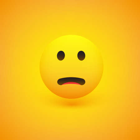 Fearful, Surprised Face - Emoticon - Vector Design