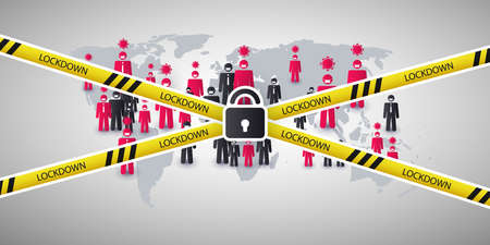 Lockdown Due to Global Pandemic - Vector Design Concept with Padlock and Cordoned Off People Around The World
