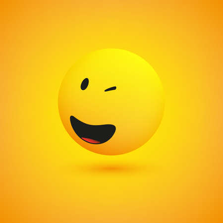 Smiling and Winking Simple Shiny Happy Emoticon on Yellow Background - Vector Design