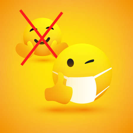 No Hugs and Handshakes - Concept with Emoticon with Winking Eye, Showing Thumbs Up and Wearing Medical Mask - Vector Design on Yellow Background