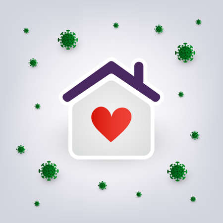People Stay Safe at Home During the Time of Coronavirus Pandemic - Lockdown, Isolation, Home Quarantine Concept - Vector Design  イラスト・ベクター素材
