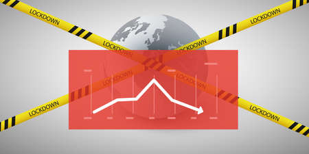 Lockdown Due to Global Pandemic - Negative Effect on Global Economy  - Vector Design Concept with Earth Globe, Cordon Line, Padlock and Chart