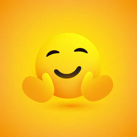 Hugging Face - Emoticon on Yellow Background - Vector Design