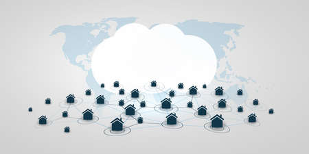 Home Offices, Remote Work, Cloud Computing - Work at Home and Make Social Connections Through the Internet Only - Design Concept with Symbolic Network of Houses - Vector Illustration Vector Illustratie