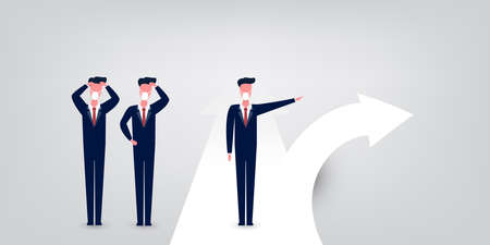 Choose the Right Direction Going Forward - Alternative Ways, Business Decision Design Concept with Businessmen at Road Intersection - EPS10 Vector Illustration