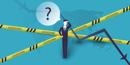 Global Economic Downfall Caused By the Corona Virus Pandemic - Design Concept with Chart, Cordon Tape and Confused Businessman Holding His Head