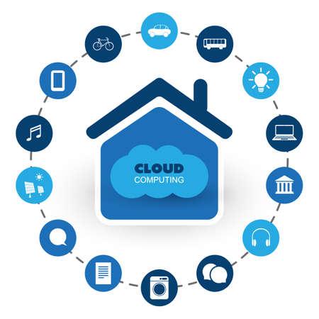 Cloud Computing Technology Design Concept with Icons - Digital Network Connections, Internet Services - Vector Illustration Vecteurs