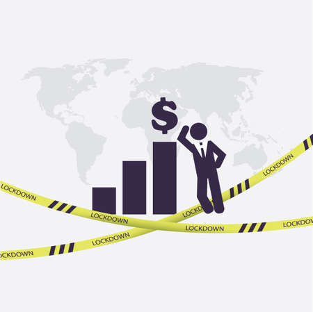 End of Lock Down - Economy Starts to Grow Again - Concept with Bar Chart, Dollar Sign, Fallen Cordon Tape and Businessman