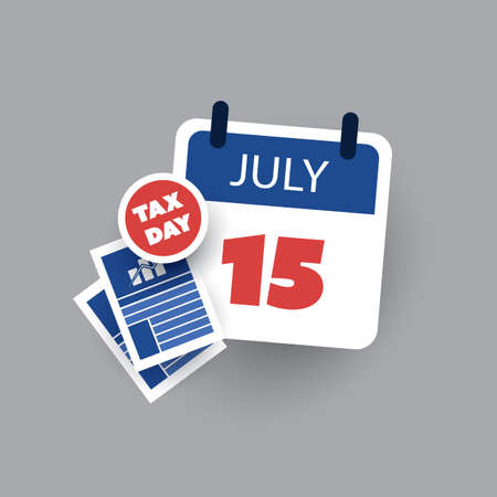 Tax Day Reminder Concept - Calendar Design Template - USA Tax Deadline, New Extended Date for IRS Federal Income Tax Returns: 15 July 2020