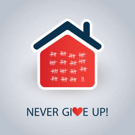 Home Quarantine Shoud End Soon - Never Give Up - Vector Concept Design Vectores